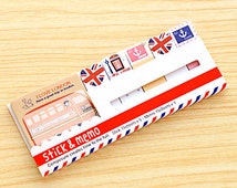London Bus Sticky Notes - Cute Post-it notes, sticky memo, travel theme, telephone booth, memo sticker