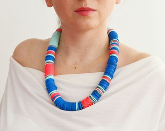 African jewelry, African necklace, runway jewelry, neon blue necklace, bright necklace, long statement necklace, ethnic necklace, runway