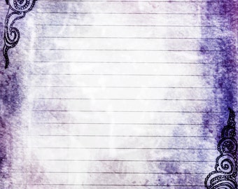 Printable Journal Page, Swirls Purple Lined Stationery, 8 x 10 JPG Instant Download, Scrapbooking Paper, Digital Art, Lined Paper