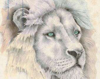 Lion Art Print - Original Artwork, Lion Wall Art, Lion Illustration, Animal Art, Hand Drawn Lion, Archival Print, Wildlife Art, Nursery Art