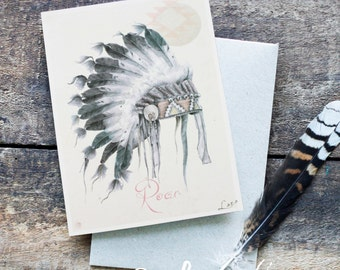 Native American Greeting Card - Blank Card, Hand Drawn, Bohemian, American Indian, Tribal Print, Original Artwork, Tribal Art, Boho Chic