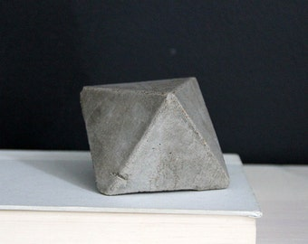 Octahedron Concrete Geometric Object, Bookend, Paper Weight