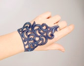 SALE navy blue lace bracelet // chain ring vintage bracelet // gothic dark bracelet cuff // fabric jewelry gift