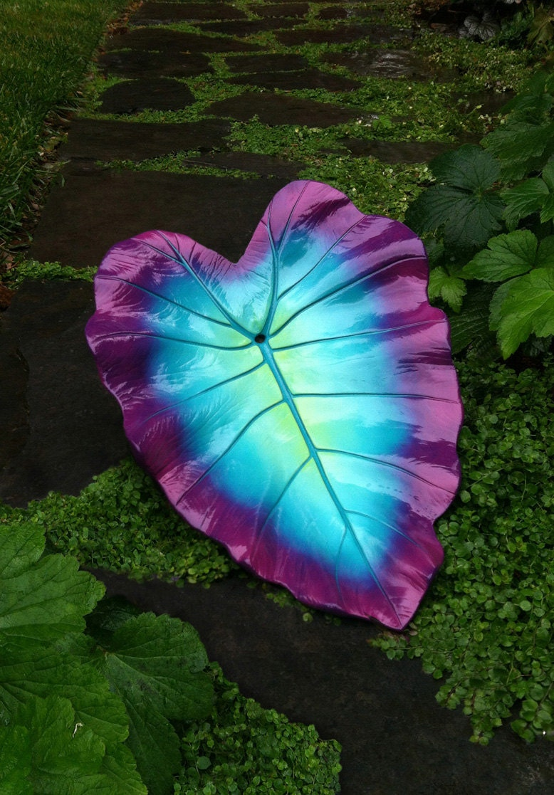 Decorative Cement Leaf In Teal Purple And Pink
