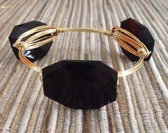 the BLACK BEAUTY bangle bracelet (tarnish resistant)