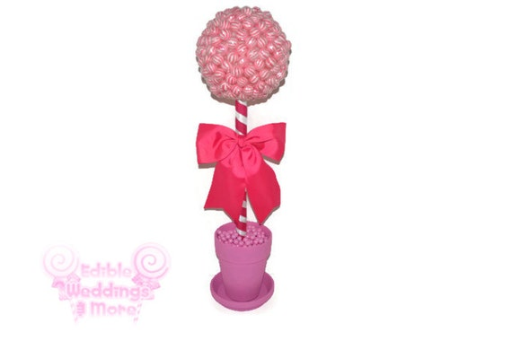 Large pink lollipop candy topiary baby shower by