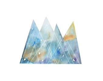 Mountains art watercolor painting giclee print abstract painting geometric triangle blue yellow wall decor illustration by VApinx