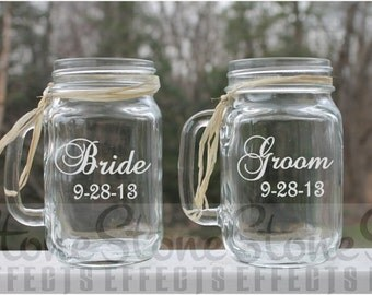 bride and groom, personalized mason jar, wedding mason jars, Etched Mason Jar,  Set of 2, Etched Wedding Glass , Etched Mugs, Personalized