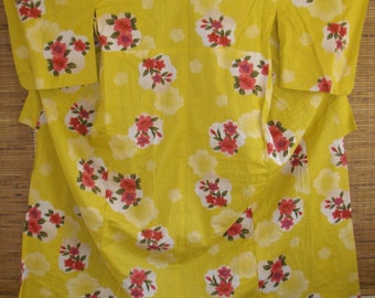 Golden Red Flower Yukata Vintage Japanese Cotton Kimono,Rose Camellias on Golden Yellow Cotton Kimono, Yellow Vintage Japanese Yukata