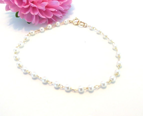 Delicate Pearl Bracelet Gold Bracelet Pearl Rosary Chain Pearl ...