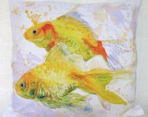 Gold Fishes Cushion Cover Watercolor Fish Throw Pillows Watercolor Cushion Home Decor Fish Pillows Fish Pillow Cover Fish Art Work Goldfish