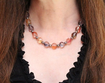 june birthday necklace / colorful jewelry / pearl and glass bead statement necklace jewelry for her #1446