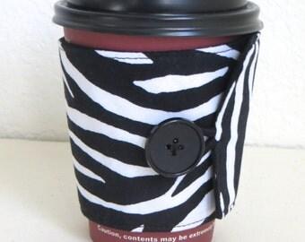 Fabric Coffee Cozy, Zebra Design