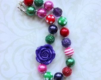 chunky bubblegum bead necklace red green hot pink purple necklace girls necklace chunky necklace summer bubble gum necklace toddler birthday