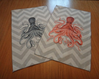 Chevron Octopus Tea Towel
