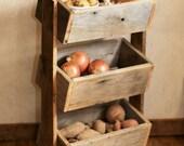 Potato Bin - Vegetable Bin - Scandinavian - Barn Wood - Rustic Kitchen Decor - Handmade