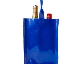 2-bottle wine bags made of truck tarp in various colors