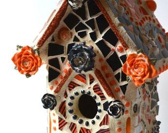 Mosaic Halloween Birdhouse  - Halloween Haunted House, Orange Birdhouse, Halloween Mantelpiece