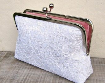 White lace clutch, white bridal clutch, white wedding purse, rustic clutch, bridesmaid clutch, clutch purse, white lace purse, uk handmade
