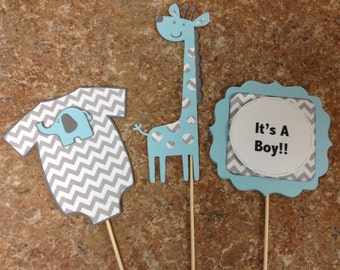 Blue and Grey Chevron,  It's a Boy Giraffe Centerpieces