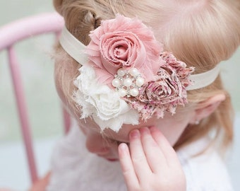Baby Headband, Pink and Ivory Flower Headband, Pearl Rhinestone, Dusty Rose Headband, Ivory Hair Bow