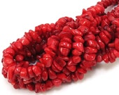 Red Coral Beads, Coral Chips, 16 inch Strand Red Coral Chip, Red Necklace Beads, Item 443gs