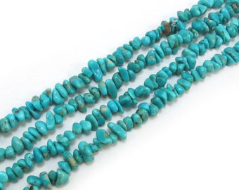 Genuine Turquoise Beads, 16 inch Strand, Blue Turquoise Nugget Beads, Designer Quality, Item 175gss