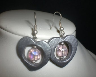 Silver heart with window ceramic earrings