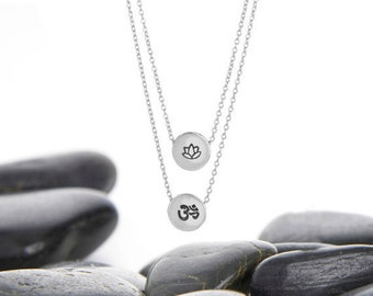 ohm necklace, om pendant, om necklace, lotus necklace, OHM, OM, lotus flower, Lotus charm, Lotus, layer necklace, Yoga Charm, n249s