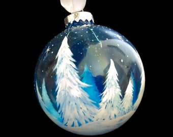 Winter White Pine Tree Hand Painted Holiday Glass Ornament, Christmas Tree Decoration, Blue Starry Sky, Cold Snowy Branches