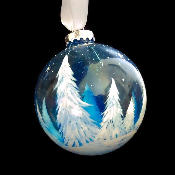 Winter white pine tree hand painted holiday glass ornament for Glass christmas ornaments to paint