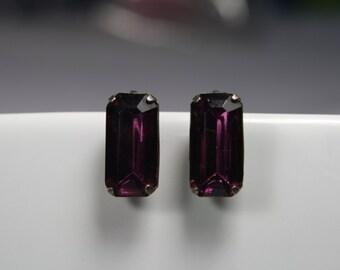 Purple Screw in Clip Earrings