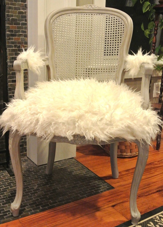 Mongolian Faux Fur French Chair By Chairwhimsy On Etsy
