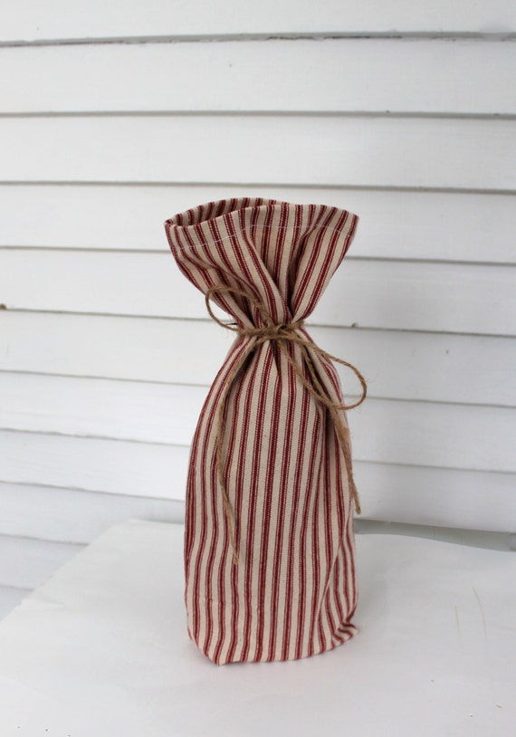 Wine gift bag, rustic red striped wine bag, red ticking stripe bag, reusable wine gift bag, Christmas gift bag
