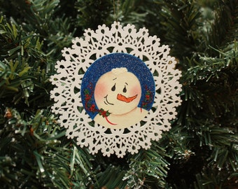 Snowman Tole Painted Christmas Ornament – Holly Berries - Holiday Decoration - Wooden Handmade - Ready to Ship