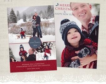 Christmas Card Template for Photographers - 5 x 7 Flat Card - HC10