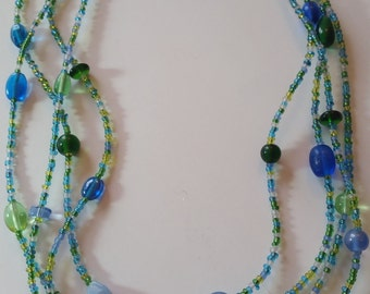 Blue and green glass multi strand necklace