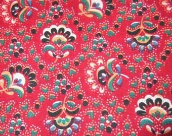 Berry Red Provincial Cotton Print Hemmed Napkins, Set of 12