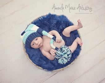 Newborn Elf Photo Prop Hat - Striped Elf Hat - Newborn Stocking Hat - Baby Elf Hat - Boy Newborn Hat - Long Tail Elf Hat