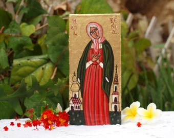 Russian Saint Xenia of St. Petersburg, Blessed Fool for Christ- eastern orthodox iconography, holy icon contemporary religious art angelicon