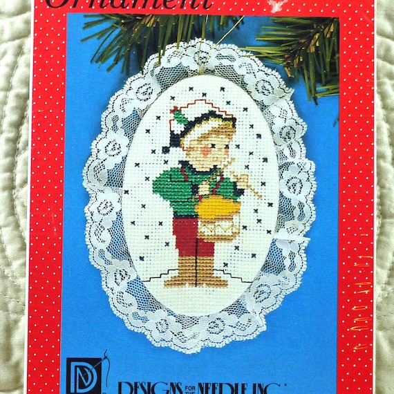 Cross Ornament For Girl Or Boy: Little Boy With Drum Lace Ornament Counted By