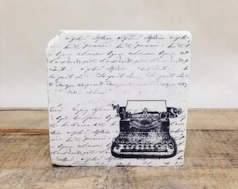 Vintage Typewriter  Stone Coasters, Tumbled Marble, Home Decor, Set of Coasters