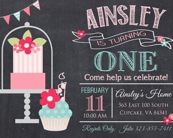Cupcake Birthday Party Invitation -5x7 or 4x6 - Birthday Invitation