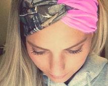 Light Pink and Camo Turban Style Headband