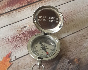 Silver Compass, Engraved Compass, Personalized Compass, Valentines Day Gift, Mothers Day Gift, Fathers Day, Groomsmen Gifts, Christmas Gift