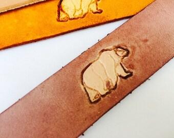 Leather Bookmark - Bear
