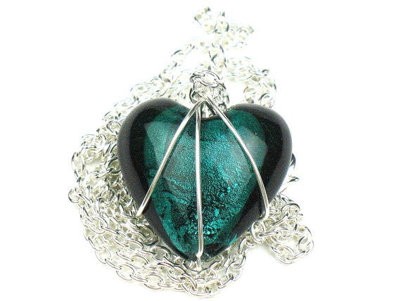Heart Necklace in Teal Green with Wire Wrapped Glass Pendant and Silver Chain, Girlfriend Gift