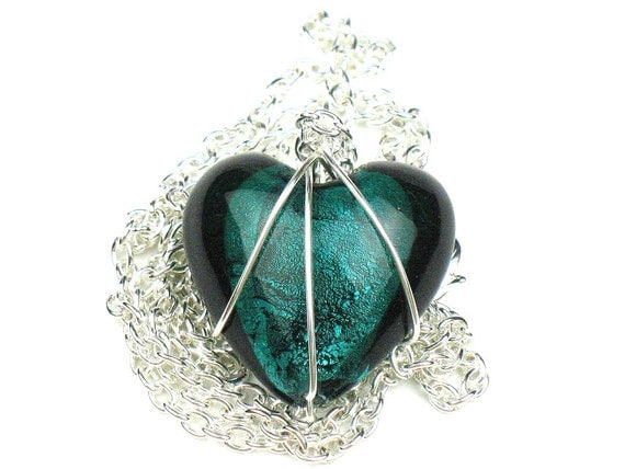 Heart Necklace in Teal Green with Wire Wrapped Glass Pendant and Silver Chain