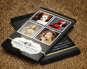 Glamour photography business cards with logo included - layered PSD files - editable with instructions - black and gold - instant download