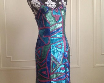Foley & Corina Turquoise Green and Purple Sequin Dress - Size 4/6 (small)